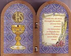 First Communion Folding Icon (Wood-look resin)