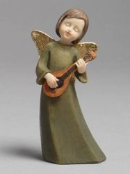 Angel with lute statue (15 cm, resin)
