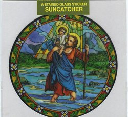 Stained Glass Window Sticker-Saint Christopher