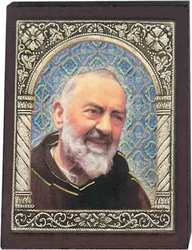 Wood look Desk plaque -Padre Pio