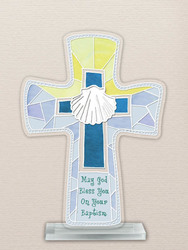 Painted Glass Cross Baptism