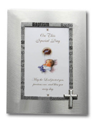 Brushed Silver Baptism Photo-frame (15 x 10 cm)