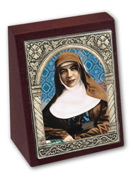 St. Mary MacKillop Wood-look desk plaque.