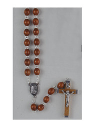 Brown Wood Double-Wired Rosary