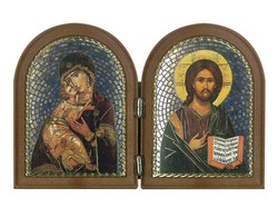 Our Lady of Perpetual Succor and Christ the Teacher  double (folding) standing icon.