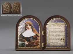 St. Mary MacKillop bifold plaque - wood-look plastic
